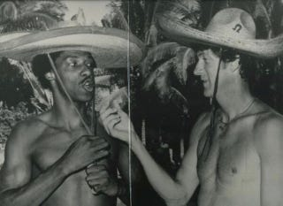 Illustration for article titled Old Photo: Dr. J And John Havlicek, Shirtless And Wearing Sombreros