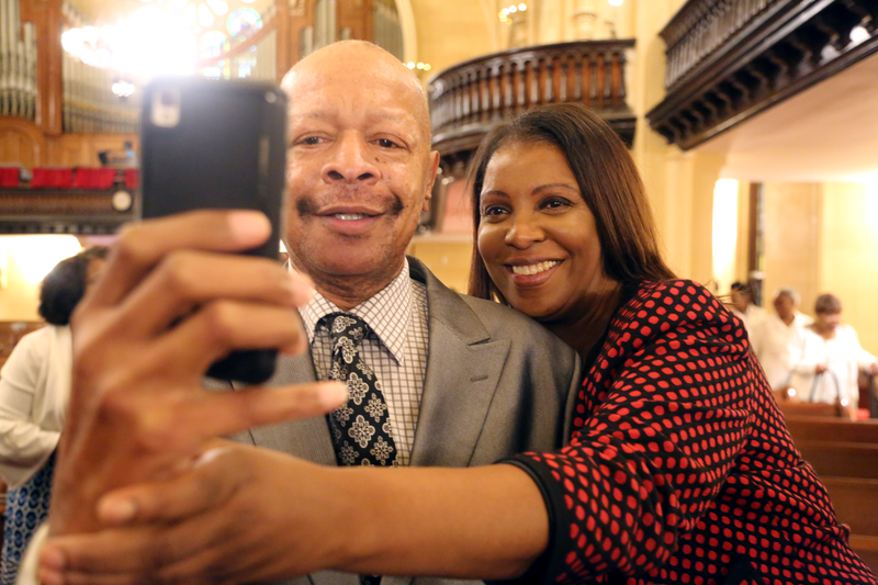 Letitia James taking a selfie with a churchgoer at Brown Memorial Baptist Church on Sunday, September 9, 2018.