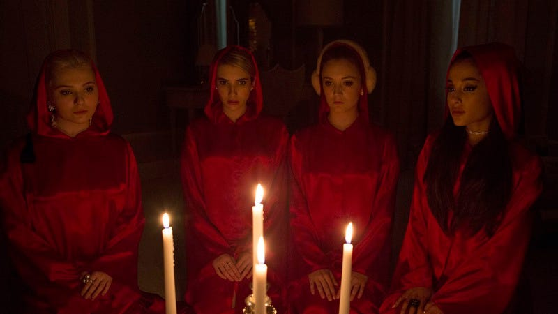 The cast of Scream Queens, securing a feature-length premiere via blood oath