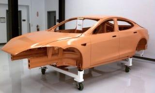 Illustration for article titled Crash Test Tesla Model S Alpha Hints at Electric Sports Sedans to Come