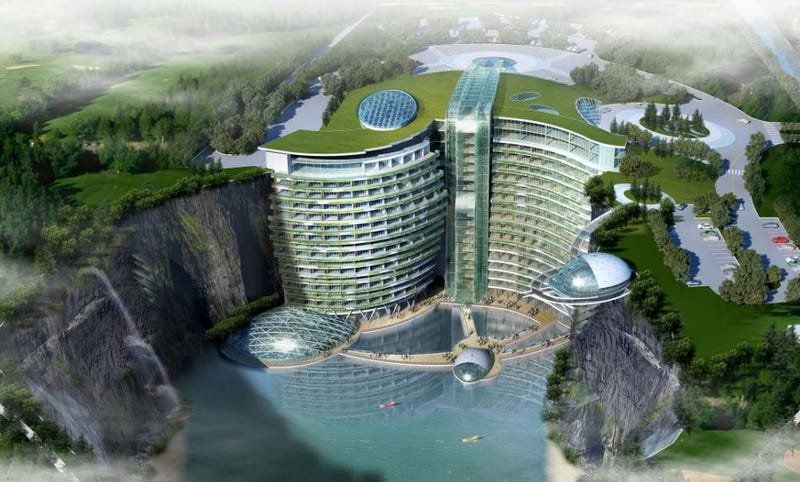 Illustration for article titled Crazy Cave Hotel Near Shanghai: Now Also With A (Glass) Waterfall