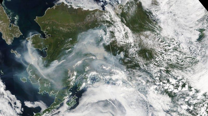 A smoky Alaska, seen by a NASA satellite on July 8.