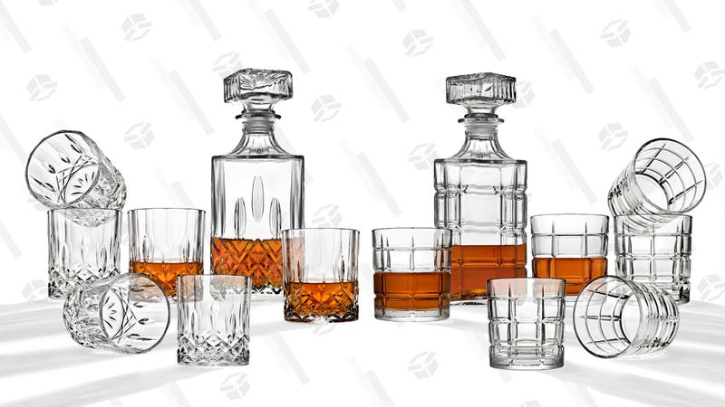 Godinger Diamond Whiskey decanter and 6 cocktail glasses | $15 | Home DepotGodinger Modern Plaid Whiskey decanter and 6-cocktail glasses | $15 | Home Depot