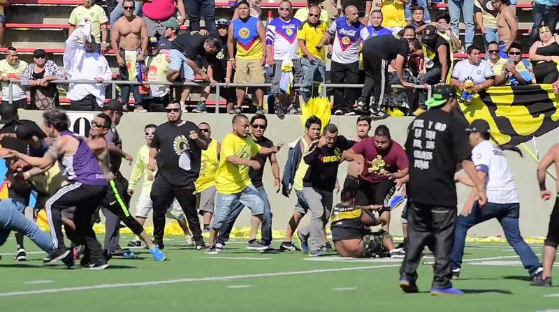 Soccer game turns violent as fans of Mexican teams brawl