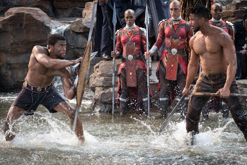 T'Challa (Chadwick Boseman) and Killmonger (Michael B. Jordan) in Black Panther