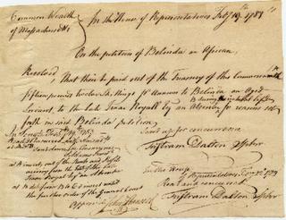 Transcription ofBelinda's Petition to the Massachusetts General Court on Feb. 14, 1783 Original manuscript, Massachusetts Archives