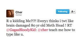 Illustration for article titled Cher Tweets Like an 80-Year-Old Meth Head