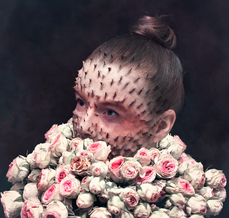 Illustration for article titled Creepy photoshopped portraits of human-plant hybrids