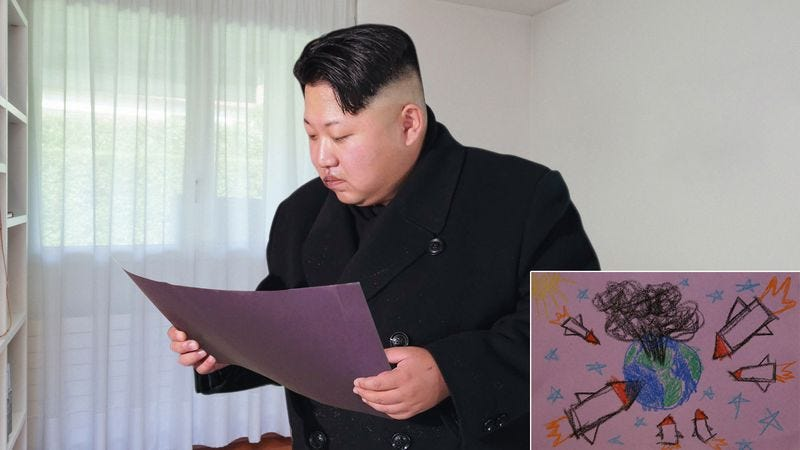Illustration for article titled Wistful Kim Jong-Un Stumbles Onto Childhood Drawings He Made Of Nuclear Attacks On West