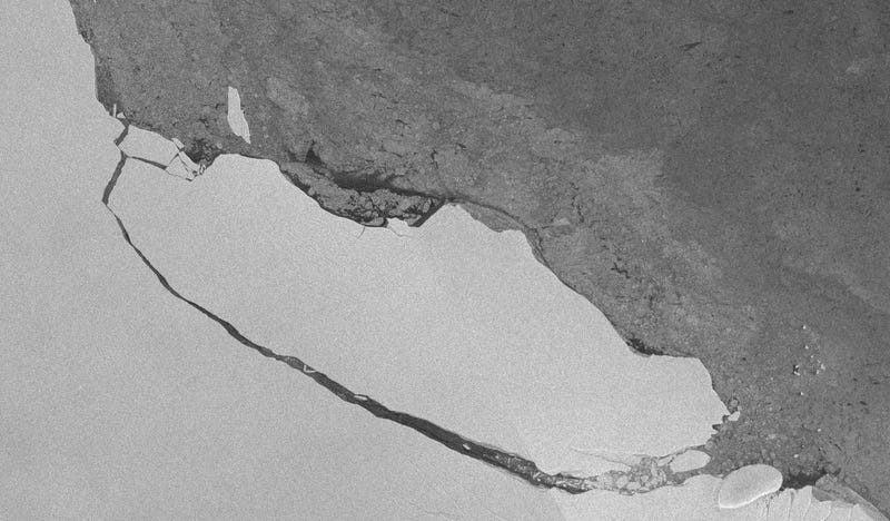 View of the A68 iceberg captured by the ESA's Sentinel-1 satellite on July 30th. Image: A. Fleming, British Antarctic Survey
