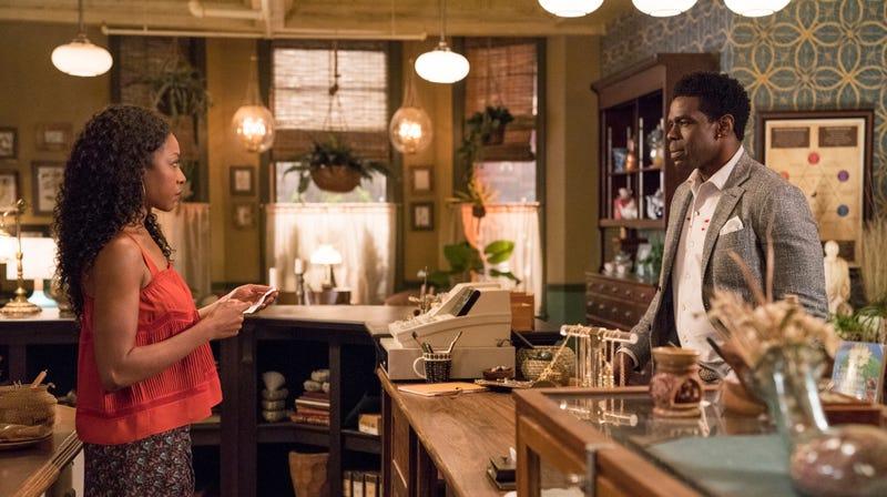 Gabrielle Dennis as Tilda Johnson and Mustafa Shakir as Bushmaster in Luke Cage season two.