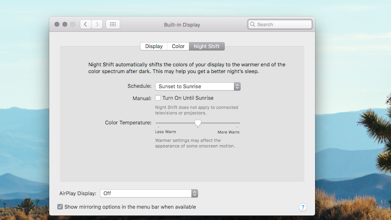 Illustration for article titled Night Shift, Apple's Automatic Screen Dimming Software, Is Now Available For Your Mac