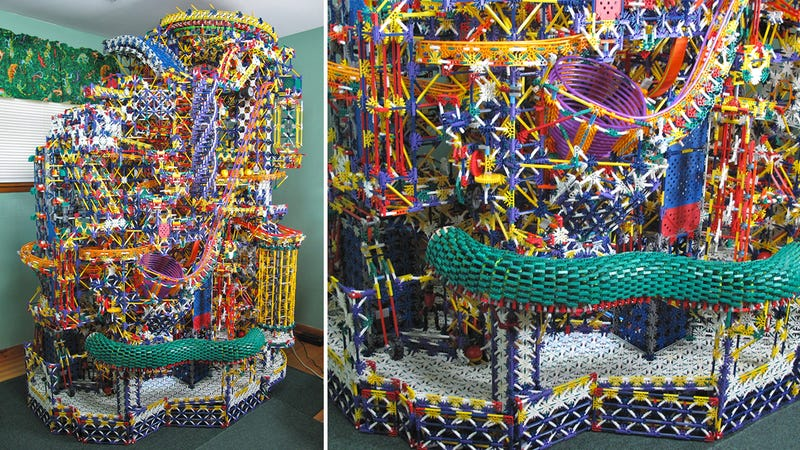 Illustration for article titled This Massive K'NEX Ball Machine Is Bigger Than My Apartment