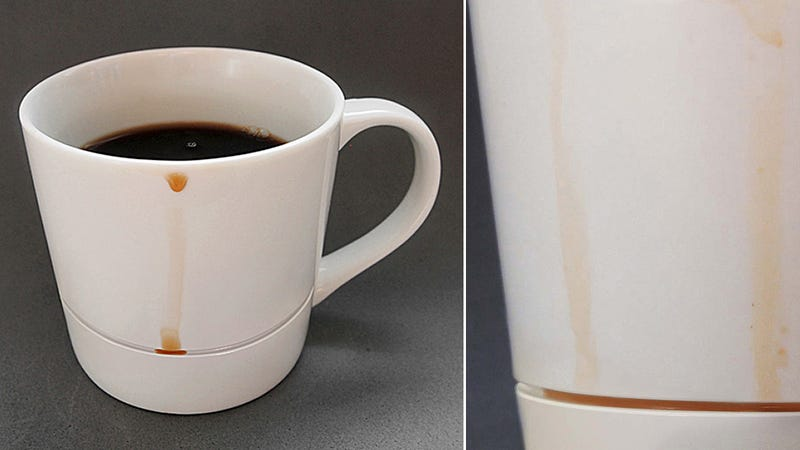 Illustration for article titled Clever Mug Catches Coffee Drips Before They Become Stains