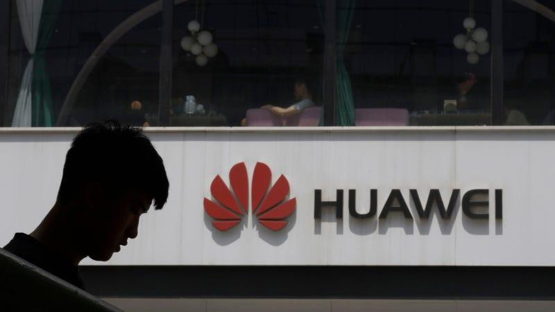 A Huawei logo in Beijing.