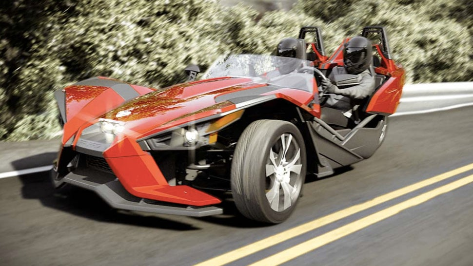 the polaris slingshot is your amazing new three wheeled track machineillustration for article titled the polaris slingshot is your amazing new three wheeled track machine
