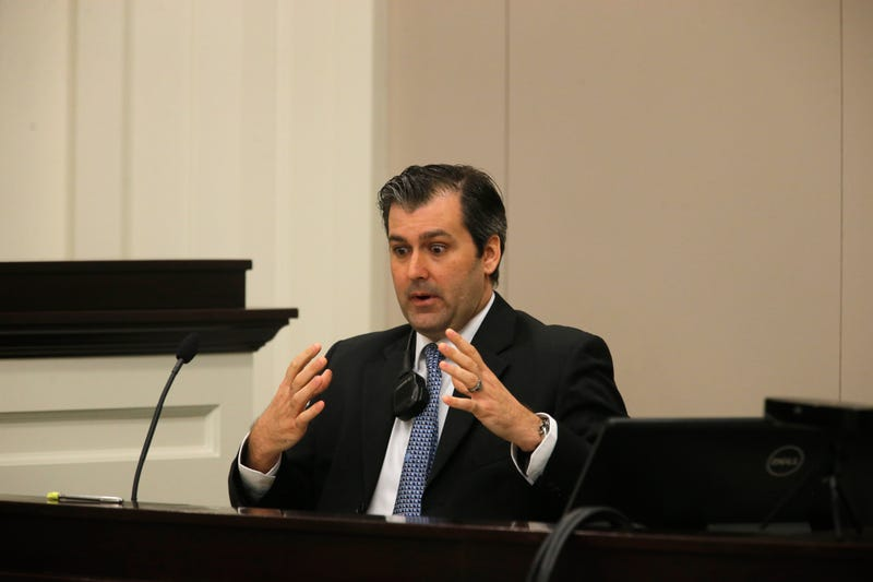 Former North Charleston, S.C., Police Officer Michael Slager testifies during his murder trial at the Charleston County Court on Nov. 29, 2016, in South Carolina.Grace Beahm-Pool/Getty Images