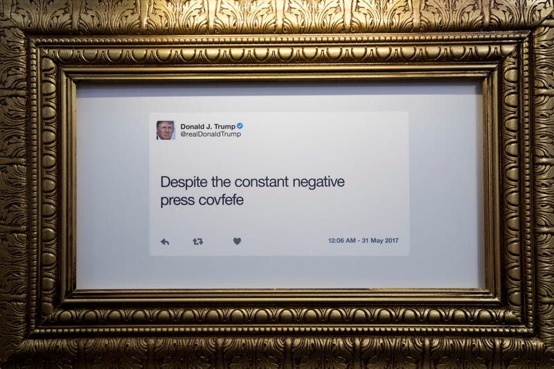 """A tweet is displayed at The Daily Show-produced """"Donald J. Trump Presidential Twitter Library"""" on June 16, 2017, in New York City. The parody library showcases Trump's tweets through the years. (Drew Angerer/Getty Images)"""
