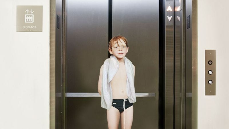 Illustration for article titled Dripping Wet 7-Year-Old Gets On Hotel Elevator