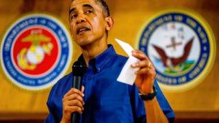 President Barack Obama at Marine Corps Base Hawaii on Dec. 25, 2013, in Kaneohe BayKent Nishimura-Pool/Getty Images