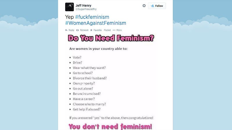 Illustration for article titled Genius Trolls #WomenAgainstFeminism With Parody Twitter Account
