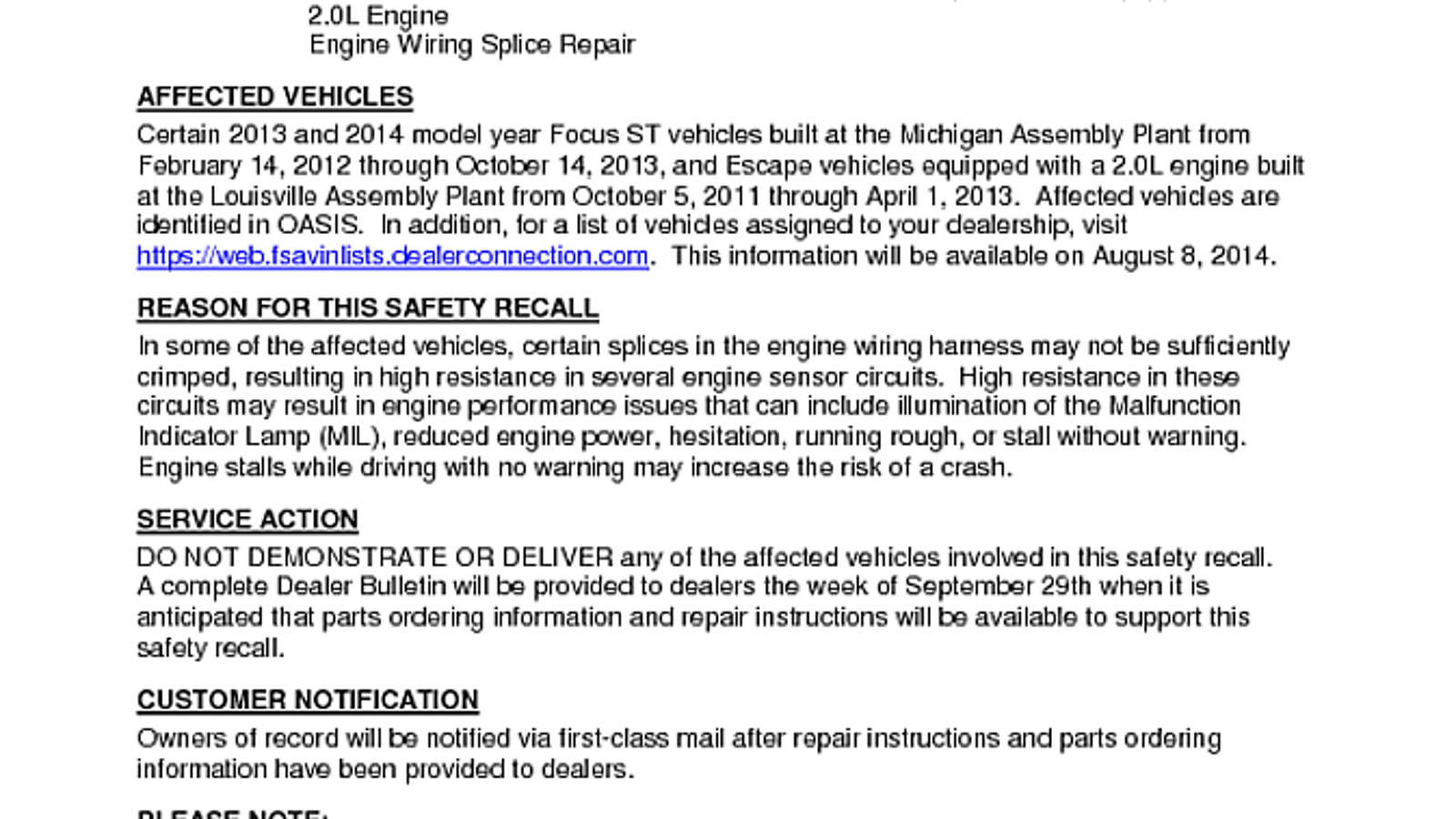 Focus St Wiring Harness Recall : Focus st owners look here wiring harness recall