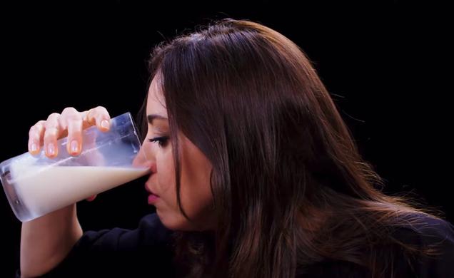 Hey, let's watch Aubrey Plaza pour milk into her nostrils
