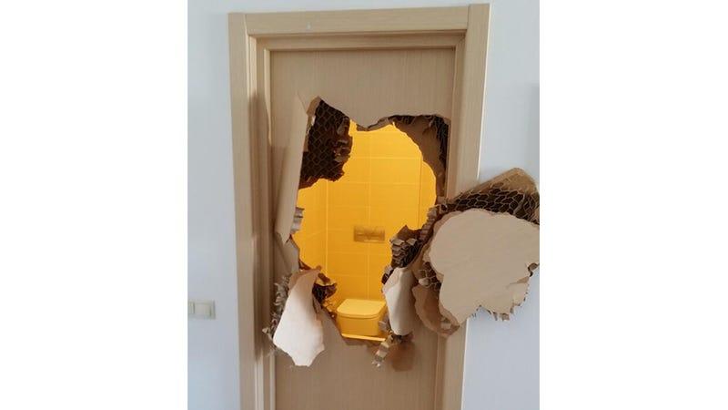 Escape In The Bathroom u.s. bobsledder busts through a door to escape his sochi bathroom