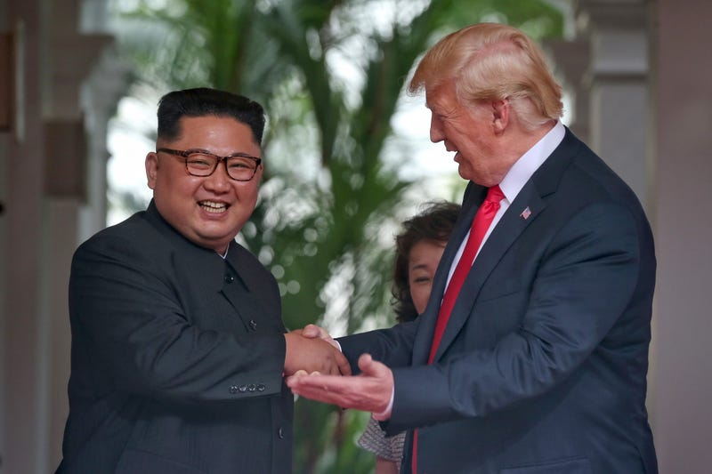 North Korean leader Kim Jong Un shakes hands with President Donald Trump during their historic summit at the Capella Hotel on Sentosa island on June 12, 2018, in Singapore.