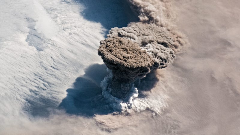 Incredible Photo from the Space Station Shows Raikoke Volcano Erupting