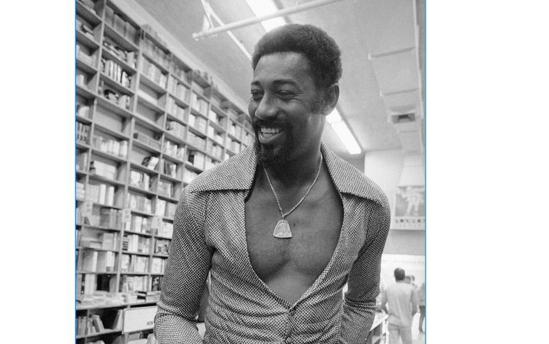 Wilt Chamberlain during a visit, Tuesday, Sept. 18, 1973 in Los Angeles to a Hollywood bookstore where his autobiography is on display.