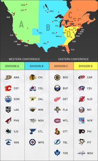 Illustration for article titled NHL Realignment, In One Handy Graphic