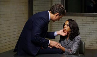 Whatever Olivia (Kerry Washington) told Fitz (Tony Goldwyn) about freeing her dad, it worked because he totally forgave her.Eric McCandless/ABC