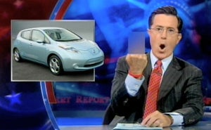 Illustration for article titled Stephen Colbert mocks Nissan Leaf and lonely people who drive it