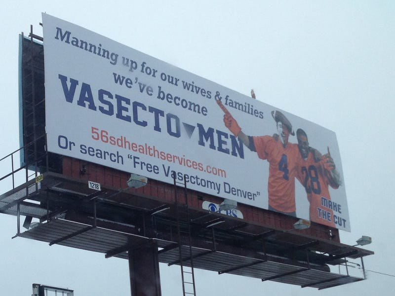 """Illustration for article titled """"Manning Up"""": Sign Outside Mile High Offers Free Vasectomies"""