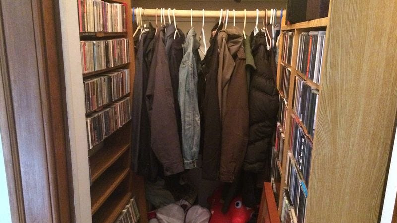 This is a picture of my coat/CD closet.