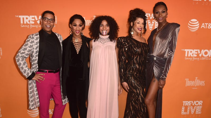 (L-R) Steven Canals, Mj Rodriguez, Indya Moore, Hailie Sahar, and Dominique Jackson attend The Trevor Project's TrevorLIVE Gala at The Beverly Hilton Hotel on December 02, 2018 in Beverly Hills, California.