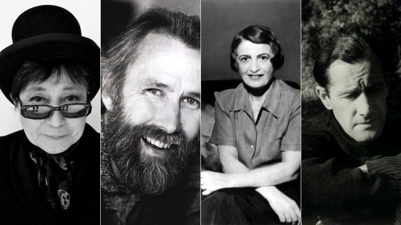 Illustration for article titled This pre-Internet chatroom conversation between Jim Henson, Ayn Rand, Yoko Ono and Sidney Nolan is fake. But it's amazing.