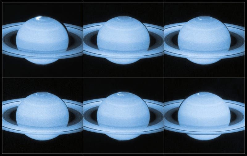 Illustration for article titled Here's the Story Behind Those Lights at Saturn's North Pole