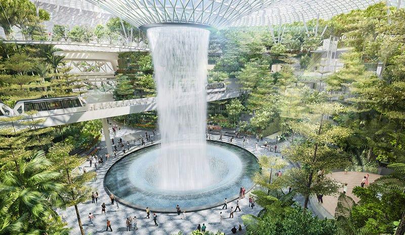 Illustration for article titled Cúpulas y una cascada de 40m: así será el aeropuerto más extravagante