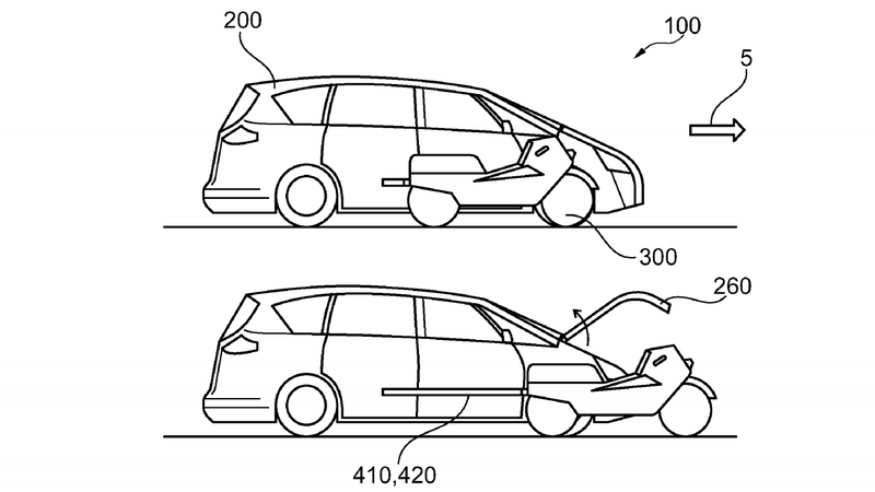 Illustration for article titled Ford Filed A Patent For A Motorcycle That Comes Out Of A Car