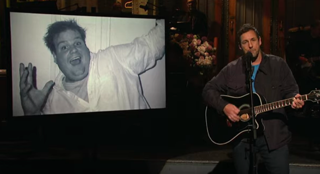 Adam Sandler sings an ode to pal Chris Farley from their old SNL playground