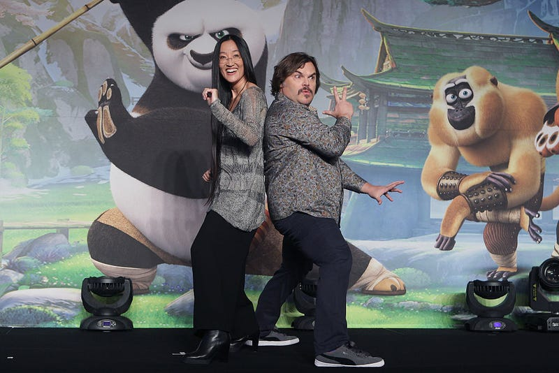Director Jennifer Yuh Nelson and Jack Black promoting Kung Fu Panda 3 in South Korea. Image: Chung Sung-Jun/Getty Images