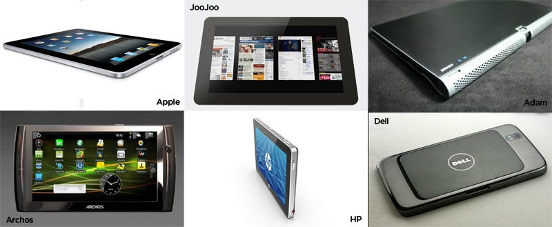 Illustration for article titled Slate Showdown: iPad vs. HP Slate vs. JooJoo vs. Android Tablets & More (UPDATED)