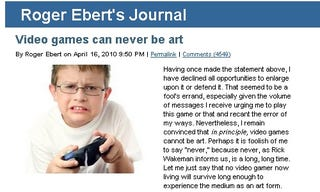 """Illustration for article titled Ebert: """"I Was a Fool"""" to Disrespect Video Games on the Internet"""