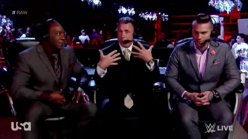 Booker T, Michael Cole, and Corey Graves (Screenshot/WWE)