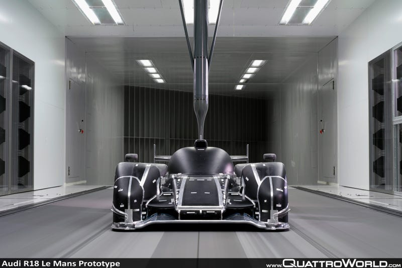 Illustration for article titled Audi R18 in the Wind Tunnel