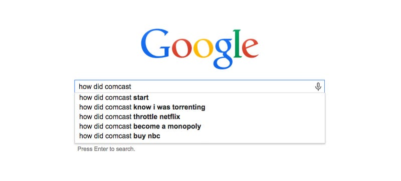 Illustration for article titled The History of Comcast As Told By Google Autofill