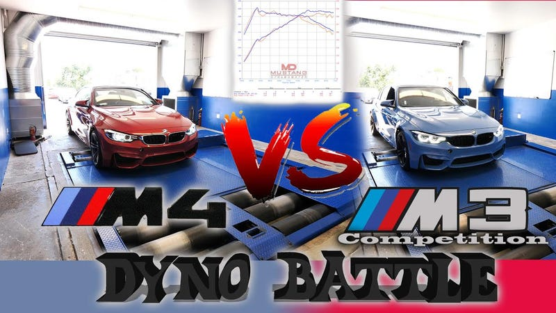 Illustration for article titled See How A 2018 BMW M3 With The Competition Package Compares To A Regular M4 On The Dyno