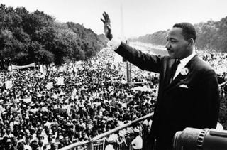 "Martin Luther King Jr. addresses a crowd from the steps of the Lincoln Memorial, where he delivered his famous ""I Have a Dream"" speech, during the Aug. 28, 1963, march on Washington, D.C.Wikimedia Commons"